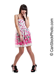 Pretty girl in summer transparent dress cofused