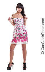 Pretty girl in summer transparent dress isolated