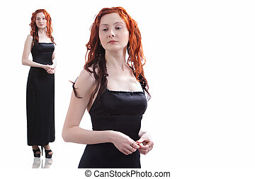 Pretty girl in the black evening dress. Isolated on white.