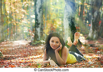 Pretty girl in the forest - Pretty girl in the autumn forest...