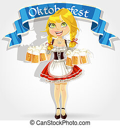 Pretty girl in traditional costume with a glass of beer celebrating Oktoberfest