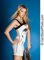 pretty girl in white dress
