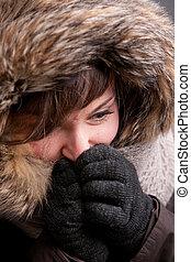 pretty girl in winter clothes - A pretty natural smiling ...