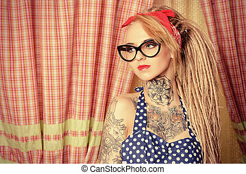 pretty girl - Modern pin-up girl wearing old-fashioned polka...