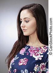 Pretty girl on studio portrait