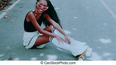 Pretty girl on vintage roller skates - Beautiful young girl...