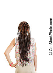 woman with back facing away from camera with extended braids ha