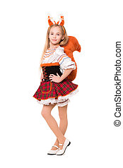 Pretty girl posing in a squirrel dress