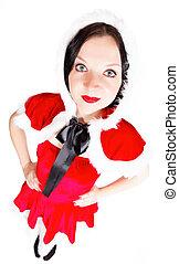 pretty girl posing in Santa Christmas costume