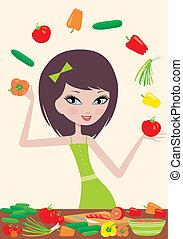 Pretty girl prepares salad