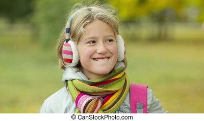 Pretty girl - Pretty schoolgirl outside