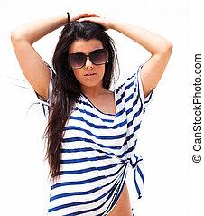 pretty girl - pretty young girl wearing a striped t-shirt ...