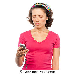 Pretty girl reading SMS