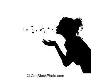 Pretty girl sending air hearts kiss black vector silhouette