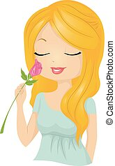 Pretty Girl Smell Flower Rose - Illustration of a Beautiful...