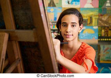 Pretty Girl Smiling At Camera Female Student In Art School