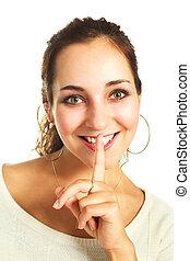 pretty girl telling a secret