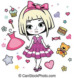 Pretty girl - Vector illustration of little girl design...