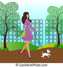 Pretty girl walking with a dog