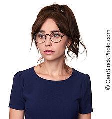 Pretty girl wearing eyeglasses looking away. Isolated