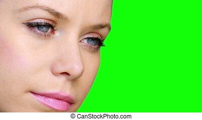 Pretty girl wearing eyeliner looki