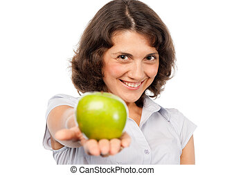 Pretty girl with a green apple