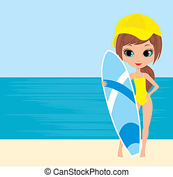 Pretty girl with a surfboard