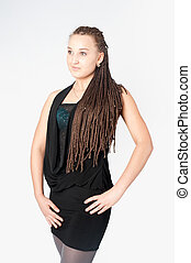 Pretty girl with afrivan braids - Portrait of young ...