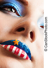 girl with american flag on lips