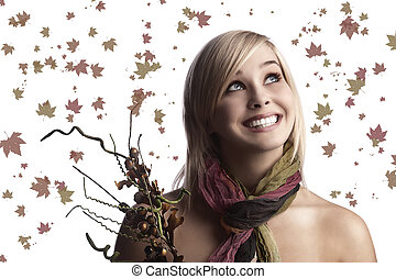 pretty girl with an autumn bouquet