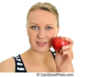 Pretty girl with apple, isolated on white