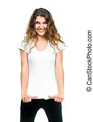 Pretty Girl With Blank TShirt - Young beautiful women posing...