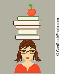 pretty girl with books on the head