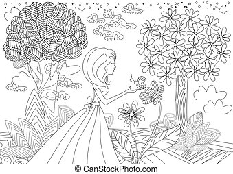 pretty girl with butterfly. coloring book page