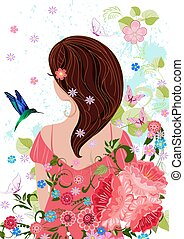 pretty girl with dark hair in flowers for your design