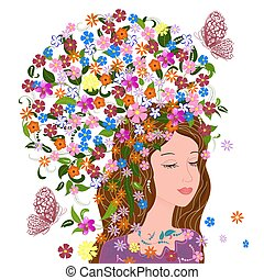 pretty girl with fancy floral hair for your design