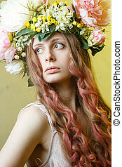 pretty girl with flower crown on head