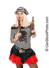 Pretty girl with guns