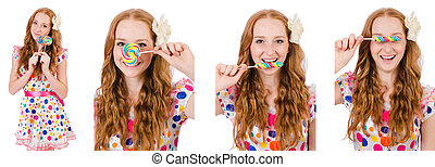 Pretty girl with lollypops isolated on white