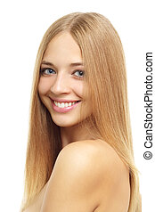 Pretty girl with long hair isolated on white