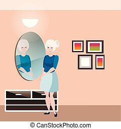 Pretty girl with mirror.