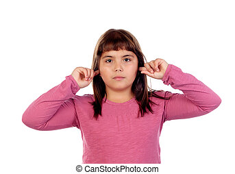 Pretty girl with pink t-shirt covering her ears