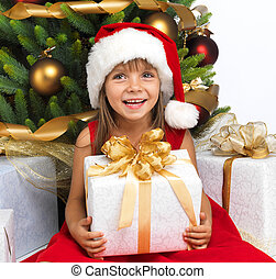 Pretty girl with present near the Christmas tree