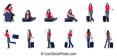 Pretty girl with suitcase isolated on white