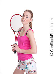 pretty girl with tennis racket on white
