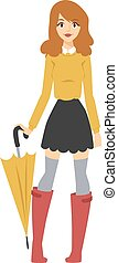 Young girl with multicolored umbrella in nice fashionable clothes and red rubber boots character vector.
