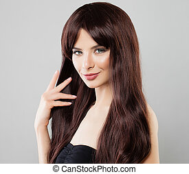 Pretty Girl Woman with Long Healthy Brown Hair, Natural Beauty