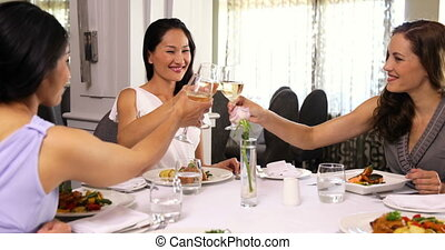 Pretty girlfriends enjoying a meal