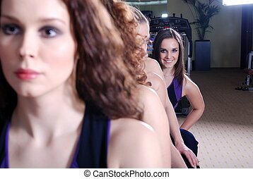 pretty girls in fitness club