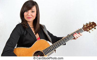 Pretty guitar player - Pretty woman playing with guitar